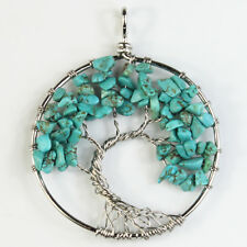 Natural Turquoise Howlite Chips Tree of Life Reiki Chakra Silver Round Pendant