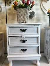 White Wooden Furniture Bed Side Table With 3 Washed White Drawer( Not WA & NT)