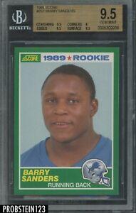 1989 Score Football #257 Barry Sanders Lions RC Rookie HOF BGS 9.5 GEM MINT