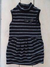 Robe habillée noire rayée grise sans manches col cheminée TAPE A L'OEIL 4 ans