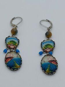 Ayala Bar Artisan Silver Tone Crystal Koi Fish Leverback Dangle Earrings