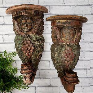 Architectural Salvage Hand Carved Cherub Angel Sconces PAIR Corbels Primitive