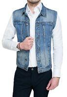 Giubbotto smanicato di Jeans uomo Diamond casual slim fit aderente da XS a XXL