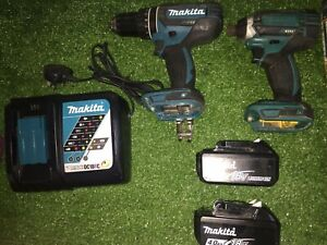 Makita 18v LXT Combi Drill & Impact Driver + 4Ah Batteries