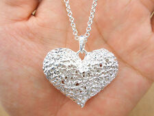 925 Sterling Silver Plating Women Fashion Big empty Heart Pendant Necklace