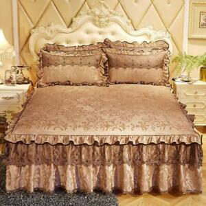3 Pcs Bed Spreads Bed Skirt Thicken Beautiful Cal King Size Bedding Havy Sheets