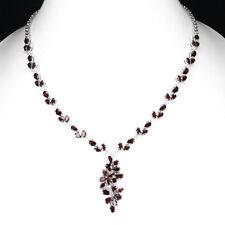 Sterling Silver 925 Genuine Natural Rhodolite Garnet Necklace 171/2 - 191/2 Inch