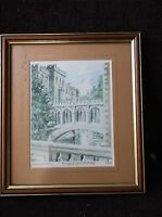 FRAMED GLAZED LIMITED EDITION SIGNED PRINT PHILIP MARTIN BRIDGE OF SIGHS CAMBS