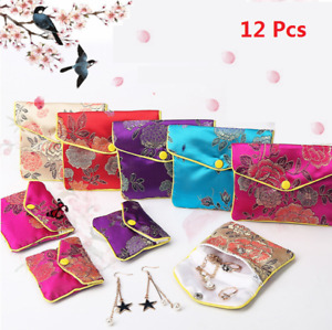 12Pcs Silk Chinese Pattern Classic Jewelry Pouch Gift Bags 3Color 8x6.5cm USA