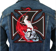 Large Lady Red Iron On Patch Embroidered Applique Sewing Label Punk Biker Patche