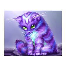 Purple Cat DIY 5D Diamond Embroidery Painting Cross Stitch Home Decor Craft