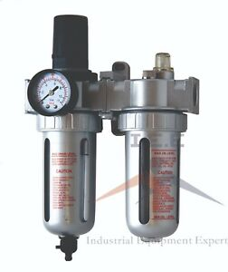 """1/2"""" MID FLOW COMBO PARTICULATE FILTER / REGULATOR & LUBRICATOR COMPRESSED AIR"""