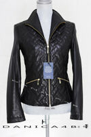 $500 Cole Haan Genuine Lambskin Quilted Front Zip Moto Leather Jacket S Black