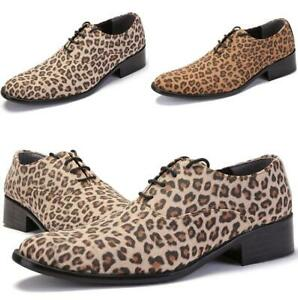 Mens Dress Formal Shoes Leopard Lace up Pointy Toe Cuban Suede Business Fashion