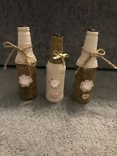 3 Shabby Chic Decorated Bottles