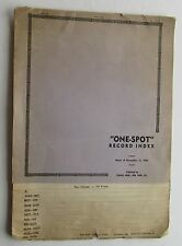 Catalog For  Tunnis Bros. One Spot Record Index Nov 11, 1940
