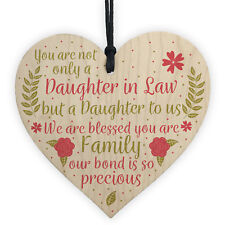 Daughter In Law Plaque Sayings Wooden Heart Birthday Wedding Christmas Gifts