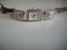Western look silver finish with brown leather band women's fashion watch