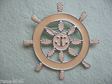 Large Collectible Figural Vintage Silvertone Enamel Tan Ships Wheel Brooch Pin
