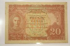 (PL) MALAYA KING GEORGE VI 1941 20 CENTS EF