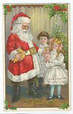 Christmas Greetings Santa Giving Gifts Girl Boy Postcard