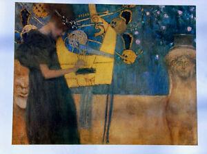 Gustav Klimt 20x28 Art Print MUSIC 1895 Vienna Secession Art Nouveau Poster O/P