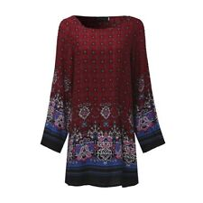 Plus Size Women Floral Printed Long Sleeve Tunic Tops Casual Loose Mini Dress UK