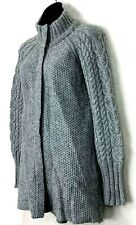 Cynthia Rowley Cardigan Sweater Snap Button Cable Knit Gray Alpaca Wool Blend M