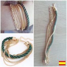 Pulsera Bracelet verde y dorada elegante multiple mujer primavera verano 2017