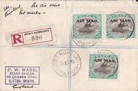 PNG709) Papua 1929-30 Lakatoi 'AIR MAIL' overprints 3d Black & Blue-green SG 114