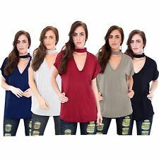 Womens Plus Size Keyhole Choker V Neck Loose Fit Baggy T Shirt Top 8-22