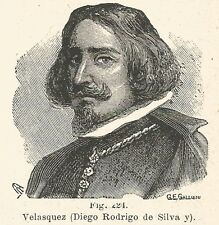 B1258 Diego Rodriguez de Silva y Velàsquez - Incisione del 1931 - Engraving