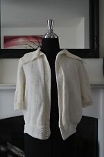 Ladies Lovely Short Sleeve Ivory Knitted Shrug. Size 16-18. Free Postage.