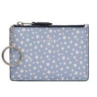 NWT COACH Mini Skinny ID Case Card Star Wallet Key Charm Sky Blue White F67611