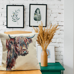 """Highland Cow Tapestry Cushion Cover, Scatter Cushion Decorative Cushion, 18""""x18"""""""