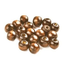 Brown Wood Beads Plain Round 6 x 7mm Pack Of 250+