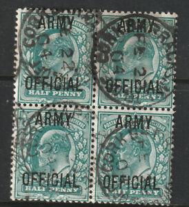 SG 048  1/2d  Blue Green Block 4 Army Official Overprint Irish Cork Barracks Pmk
