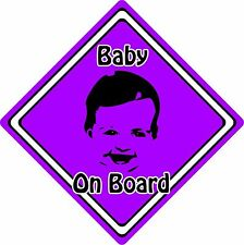 Baby/Child On Board Car Sign ~ Baby Face Silhouette ~ Neon Purple