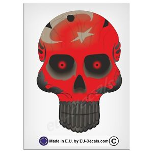 "120mm-4.7"" Robohead skull Turkish Flag red eyes Laminated Decal Sticker Vespa"
