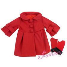 "Red 3/4 Sleeve Dress Coat & Long Fur Trim Gloves fit 18"" American Girl Doll"