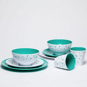 Barel Shooting Stars 8 Piece Melamine Dinner Set Green - Tumblers Bowls & Plates