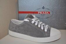 NIB PRADA Sport Linea Rossa Platform Lace Up Sneaker Shoe Suede Grey Gray 38.5