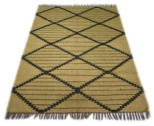 Handmade Geometric Jute Area Rug in Beige N Black Home Decor 4x6 Ft Modern Rug