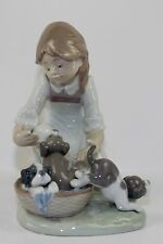"LLADRO ""JOY IN A BASKET"" #5595 FIGURE ~ GIRL W/ PUPPIES IN A BASKET ~ PERFECT ~"