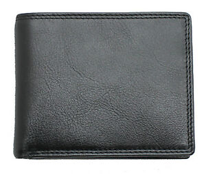 Topsum London Men RFID Real leather wallet ID Window, Zip Coin Pouch 4015 Black