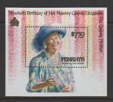 Penrhyn Stamps Queens 90th Birthday Souvenir Sheet 3 1117