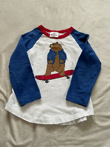 Hanna Andersson Boy's Bear Graphic 3/4 Sleeve T-Shirt Size 100cm