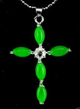 Beautiful !!! Green Jade Crystal Cross Pendant and Necklace