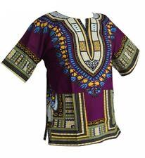 Damen Herren Dashiki Cotton Mexican African Afrikanische T-Shirt Hemd Shirt Lila