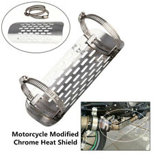 """Motorcycle Chrome Heat Shield For 1 7/8""""-2 3/4"""" Exhaust Muffler Pipe Cover Solid"""